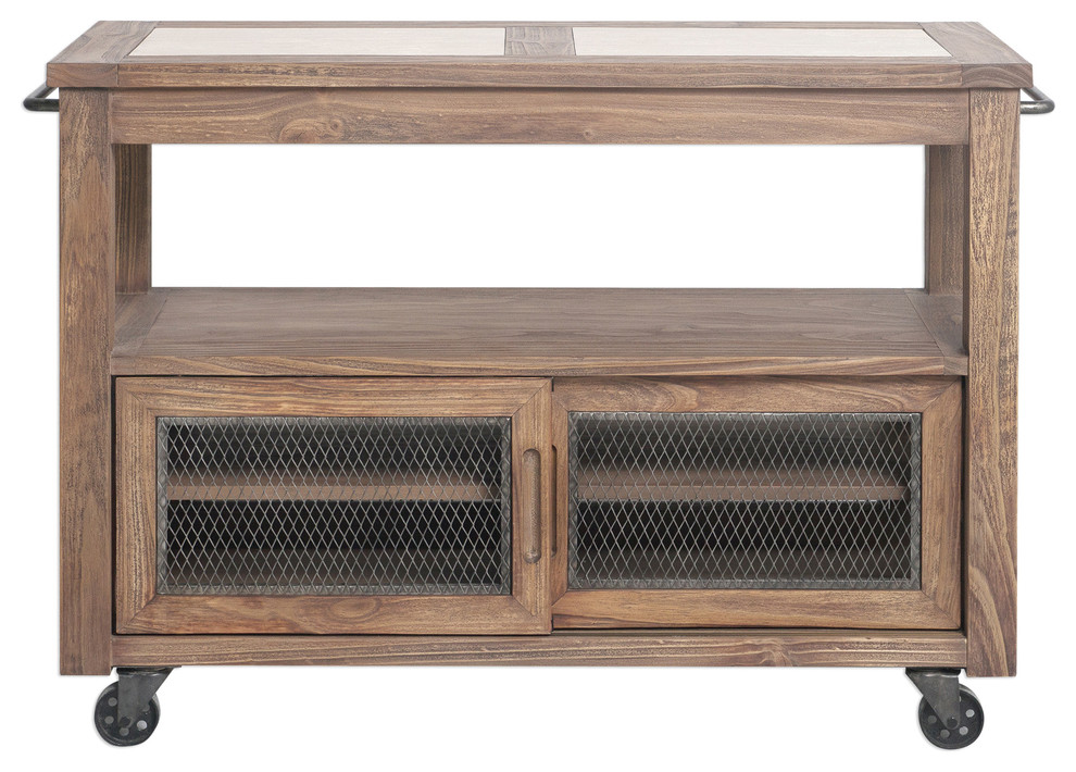 Rustic Farmhouse Rolling Kitchen Island Table | Storage Cart Wheels Cabinet