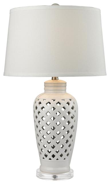 Openwork Ceramic Table Lamp, White, Standard.