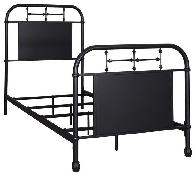 Twin Metal Bed, Black.