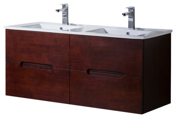 Wall Mount Bathroom Vanity Elton 48 Double Sink With Porcelain Top Dark Walnut