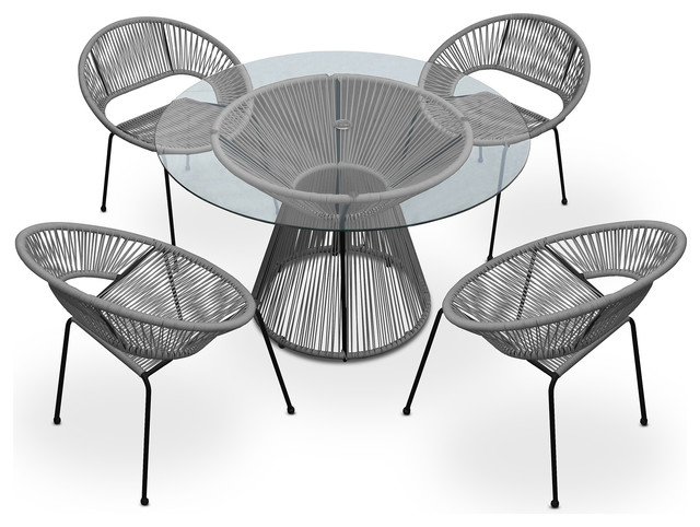Acapulco 5 Piece Dining Set, Space Gray