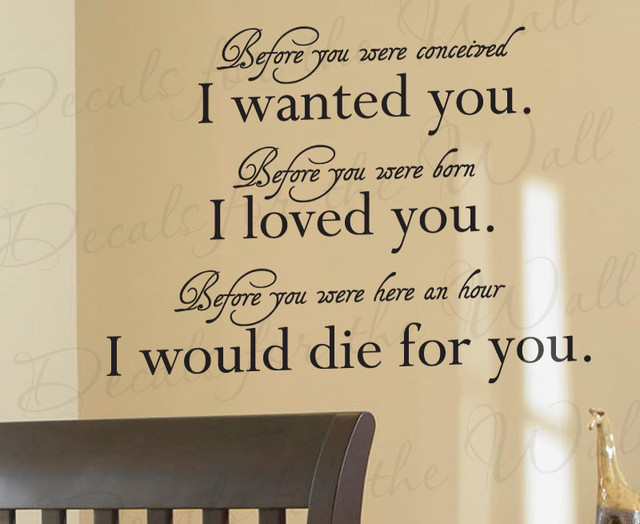 Wall Quote Decal Sticker Vinyl Art Baby Nursery Before You Were ...