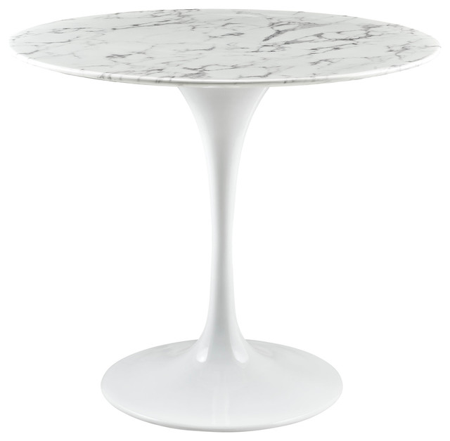 Lippa Round Artificial Marble Dining Table White