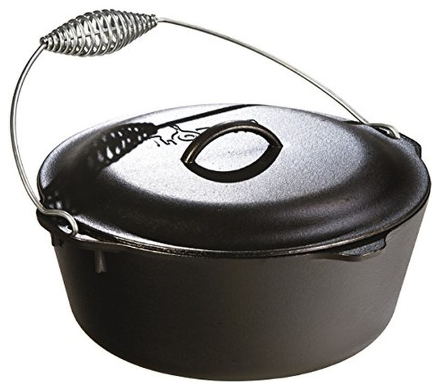 Lodge L10do3 Dutch Oven With Spiral Handle Bail And Iron Cover, 7 Qt..