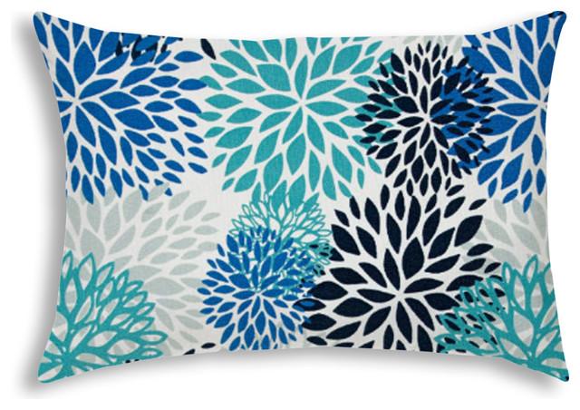 BURSTING BLOOMS Aqua Indoor/Outdoor Pillow