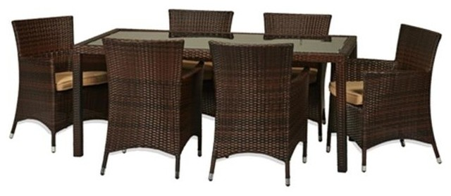 Rica 7-Piece All-Weather Wicker Dining Set.