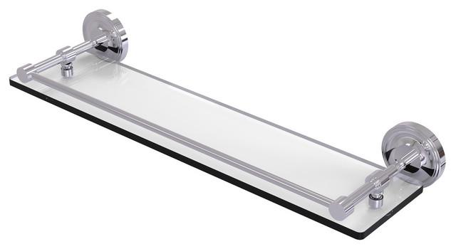 "Prestige Regal 22"" Tempered Glass Shelf With Gallery Rail, Polished Chrome."