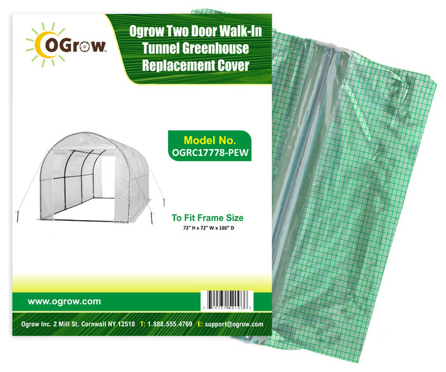 Tunnel Greenhouse Replacement Cover-To Fit Frame, 15&x27;x6&x27;x6&x27;, White.