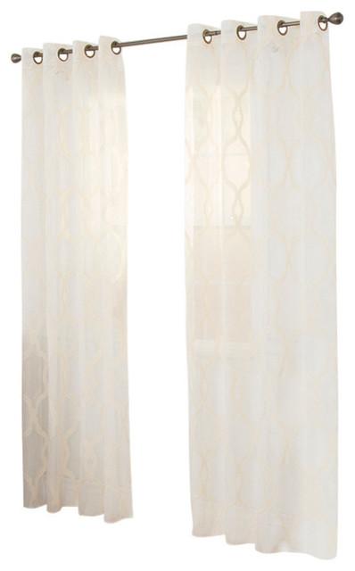 """Lavish Home Elisa Emboidered Curtain Panel, 84"""", Beige."""