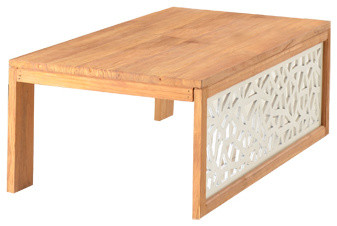 Table basse en bois de teck brut 120x60 carving - Table basse bois brut design ...