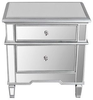 Shop Houzz | Furniture Import & Export Inc. 2-Drawer Mirrored Accent Stand - Nightstands And ...