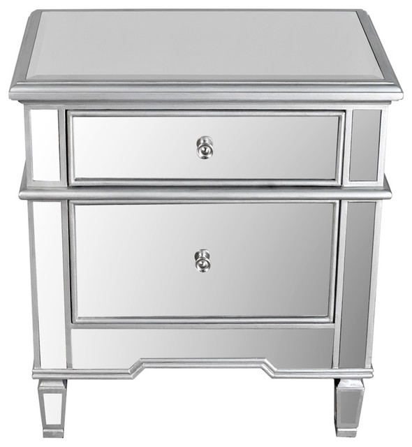 2 Drawer Mirrored Nightstand Contemporary Nightstands And Bedside Tables