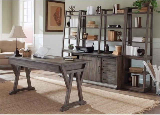 Liberty Furniture Stone Brook 5-Piece Home Office Set, Rustic Saddle.