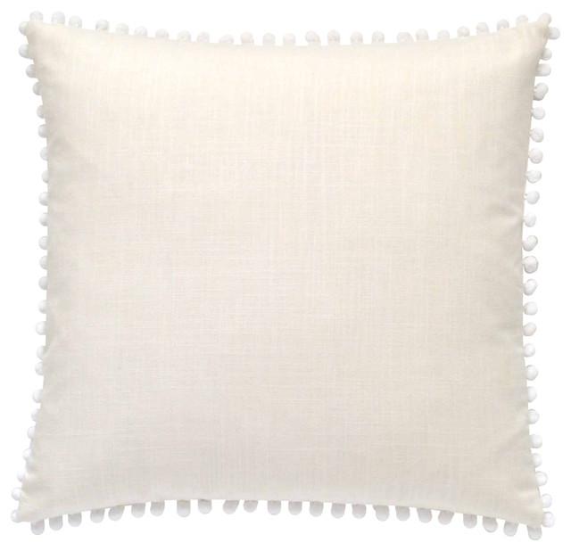 """Pom Pom Pillow Cover, White, 19""""x19"""" contemporary-decorative-pillows"""