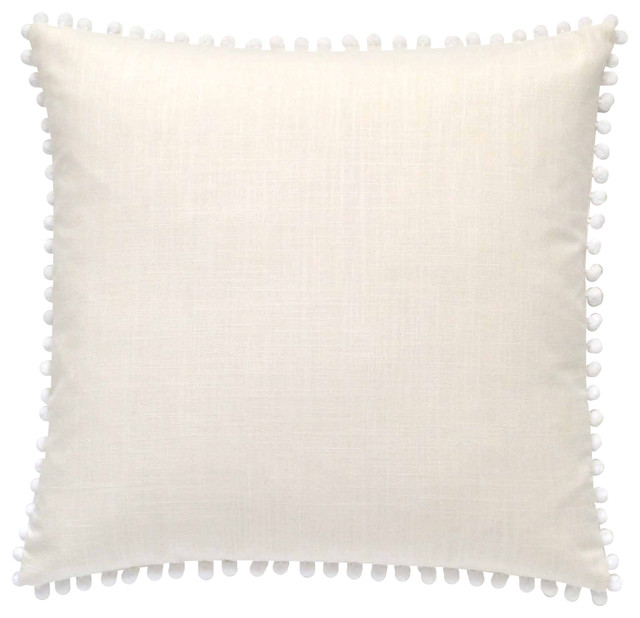 "Pom Pom Pillow Cover, White, 19""x19"""