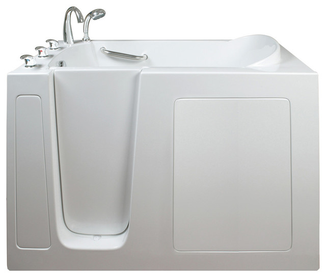 Ella narrow 26 wide soaking walk in bath modern for Narrow deep soaking tub