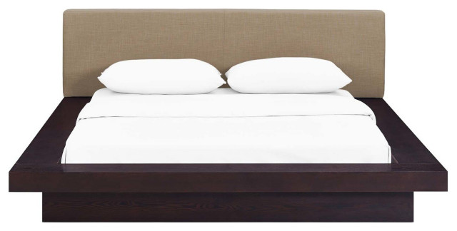 Freja Queen Fabric Platform Bed, Cappuccino/Latte
