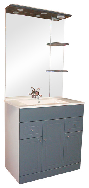Toledo Bathroom Vanity Unit and Mirror Unit, Grey, 81 cm