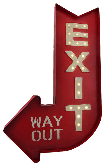 Wonderful Retro-Style LED Lighted Marquee Exit Arrow Metal Sign - Eclectic  CQ22
