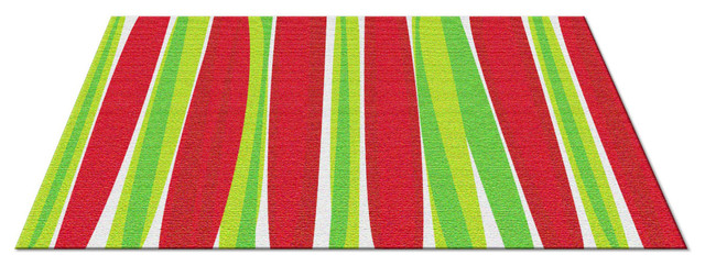 Stripes Merry Christmas Rug Red Green Contemporary