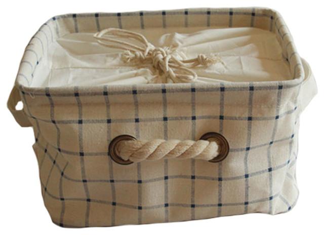 Japanese Style Foldable Storage Basket, Box, Organizer Laundry Hamper, Checks
