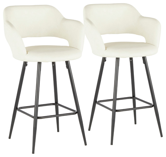 Lumisource Margarite Counter Stool, Black Metal and Cream PU Leather, Set of 2