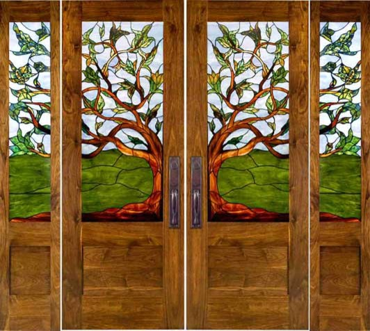 Stained Glass Doors Eclectic Front Doors By