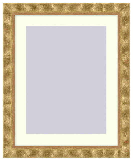 Wall picture frame gold ribbed with a white acid free - White wall picture frames ...