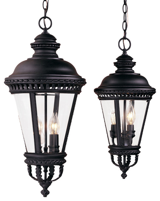 4 light standard bulb outdoor hanging lantern black for Mediterranean lighting fixtures