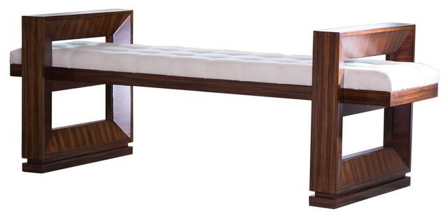 Open Block Contemporary Dark Walnut Upholstered Bench.