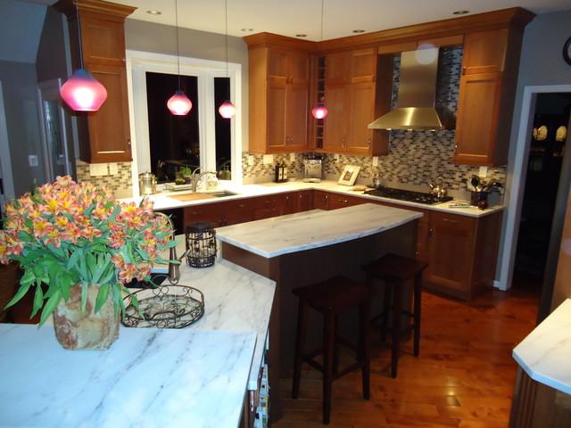multi level island in full kitchen remodel