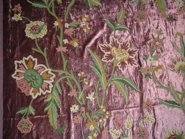 Crewel Fabric Shalimar Burgundy Cotton Viscose Velvet Yardage
