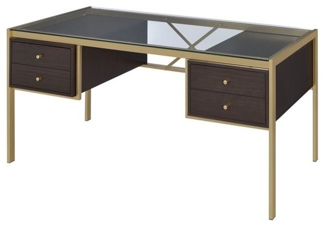 Glass top writing desk Tempered Glass Acme Yumia Glass Top Writing Desk Clear Glass And Gold Contemporary Desks And Hutches By Homesquare Houzz Acme Yumia Glass Top Writing Desk Clear Glass And Gold