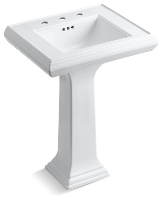 "Kohler Memoirs Pedestal Lavatory With 8"" Centers And Classic Design, White."