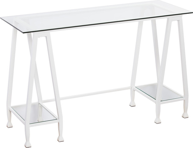 Jaymes Metal/glass A-Frame Writing Desk, White.