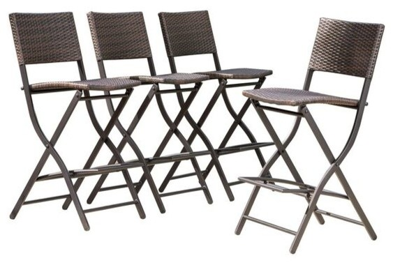 Marinelli Outdoor Multibrown Wicker Bar Stools Set Of 4 Tropical