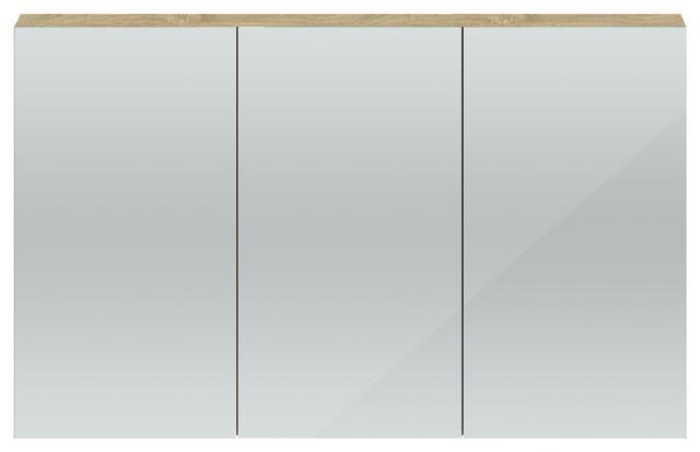 Quartet Contemporary Mirrored Bathroom Cabinet, Oak Top