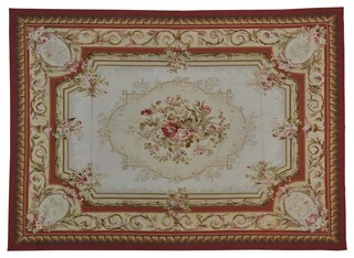 Aubusson Floral Design Handmade Flat Weave Oriental Rug
