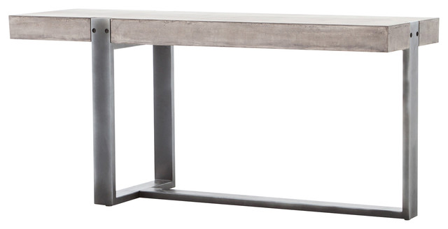 Frantz Asymmetrical Gray Metal Concrete Console Table