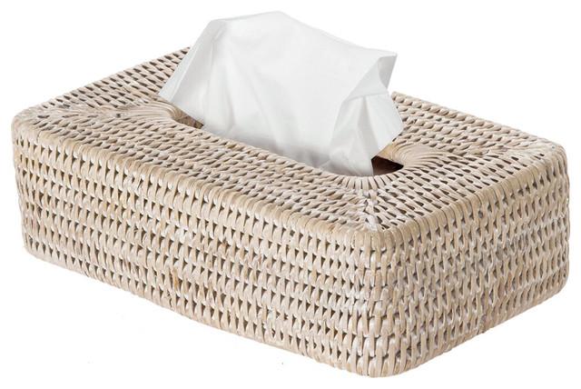 La Jolla Rattan Rectangular Tissue Box Cover White Wash