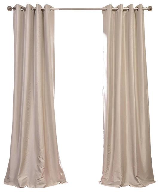 "Antique Beige Grommet Blackout Fauxsilk Taffeta Curtain Single Panel, 50""x108""."