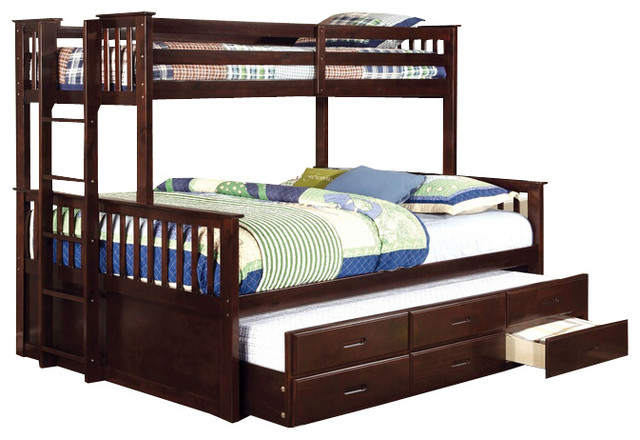 Shelton Extra Long Twin Over Queen Combo Bunk Bed, Espresso.