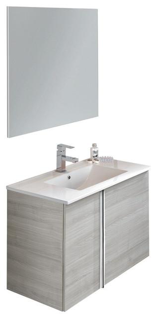32 Floating Bathroom Vanity Set Royo Onix With 2 Doors Sandy Gray Oak Contemporary Bathroom