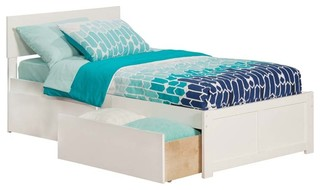 Orlando Flat Panel Footboard With 2 Urban Bed Drawers, White, Twin