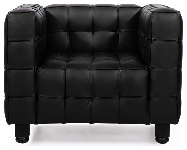 Kubus Style Midcentury Modern Aniline Leather Arm Chair, Black Contemporary  Armchairs And