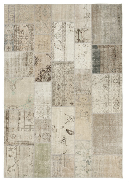 Persian Wool Rug Transitional Oriental Style Using Patchwork Beige 5 7 X7 9