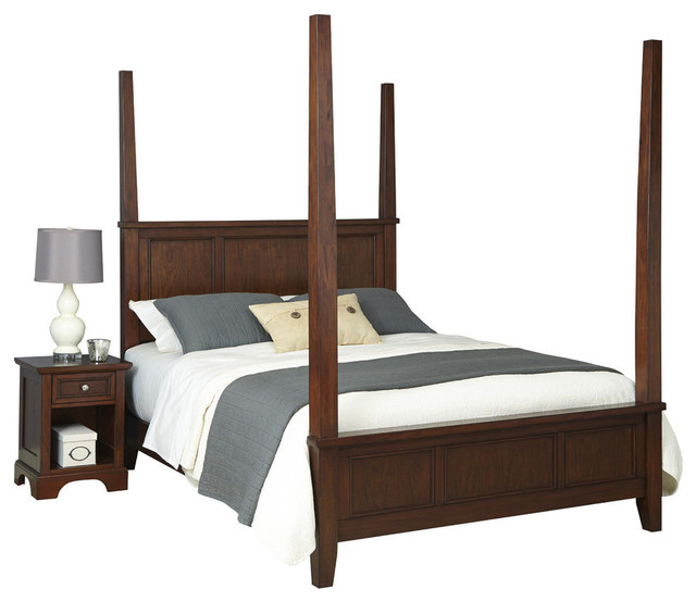 Transitional Bedroom Furniture: Chesapeake Queen Poster Bed And Nightstand