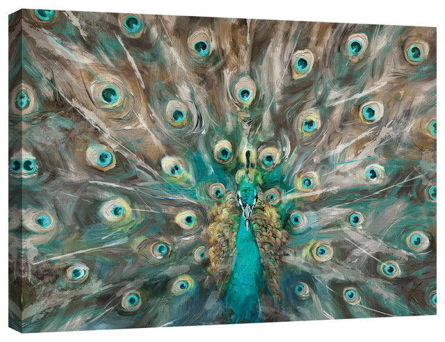 Peacock Colors By Studio Arts Wrapped Canvas Art Print Tropical Prints And Posters By Fine Art Canvas Houzz