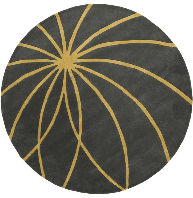 Surya Forum FM7181 Gray/Yellow Contemporary Area Rug, Round 4'x4'