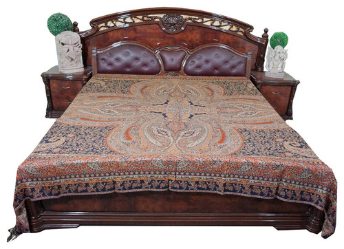 Throw Orange Self Design Indian Jamawar Bedspreads King Sz